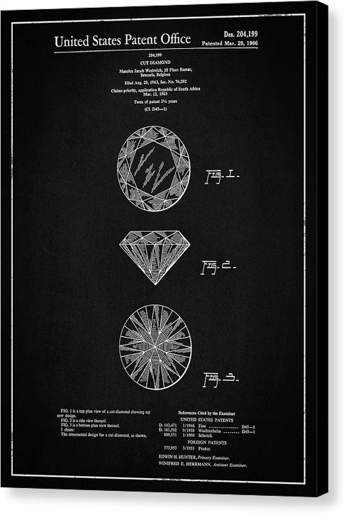 Vintage Diamond Cut Patent, 1966 - Canvas Print from Wallasso - The Wall Art Superstore