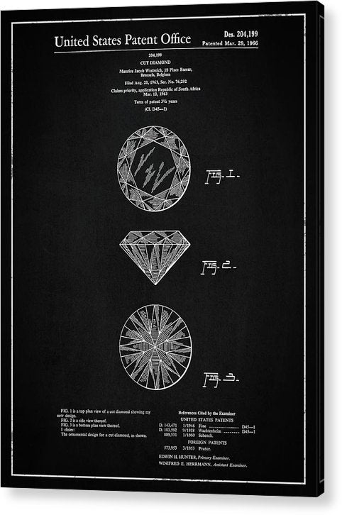 Vintage Diamond Cut Patent, 1966 - Acrylic Print from Wallasso - The Wall Art Superstore