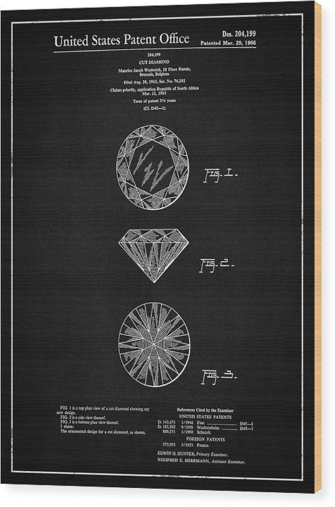 Vintage Diamond Cut Patent, 1966 - Wood Print from Wallasso - The Wall Art Superstore