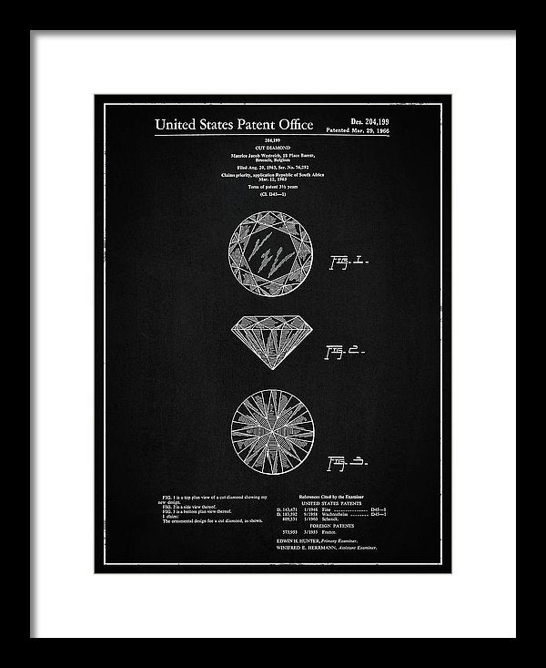 Vintage Diamond Cut Patent, 1966 - Framed Print from Wallasso - The Wall Art Superstore