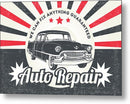 Vintage Distressed Auto Repair Sign - Metal Print from Wallasso - The Wall Art Superstore
