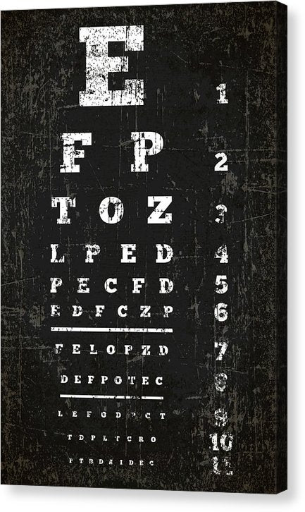 Vintage Distressed Eye Chart - Canvas Print from Wallasso - The Wall Art Superstore
