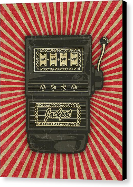 Vintage Distressed Slot Machine Design - Canvas Print from Wallasso - The Wall Art Superstore