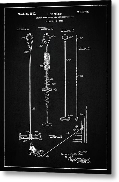 Vintage Dog Toy Patent, 1940 - Metal Print from Wallasso - The Wall Art Superstore