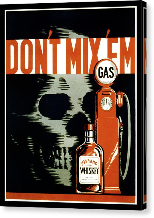 Vintage Don't Mix 'Em Drunk Driving Poster, 1937 - Canvas Print from Wallasso - The Wall Art Superstore