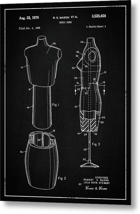 Vintage Dress Form Patent, 1970 - Metal Print from Wallasso - The Wall Art Superstore