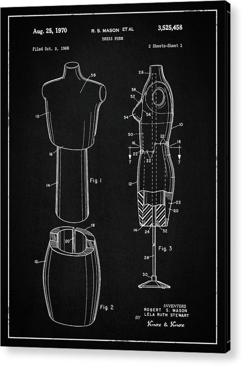 Vintage Dress Form Patent, 1970 - Acrylic Print from Wallasso - The Wall Art Superstore