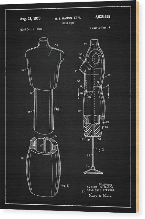 Vintage Dress Form Patent, 1970 - Wood Print from Wallasso - The Wall Art Superstore