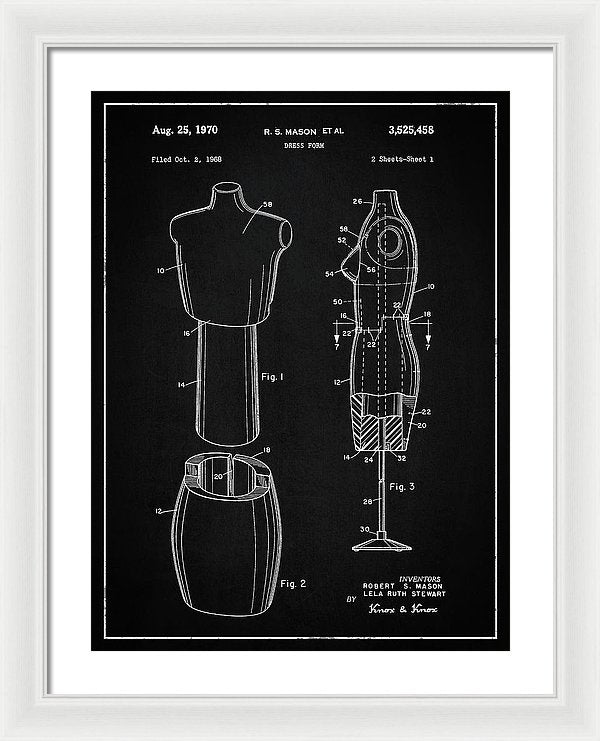 Vintage Dress Form Patent, 1970 - Framed Print from Wallasso - The Wall Art Superstore