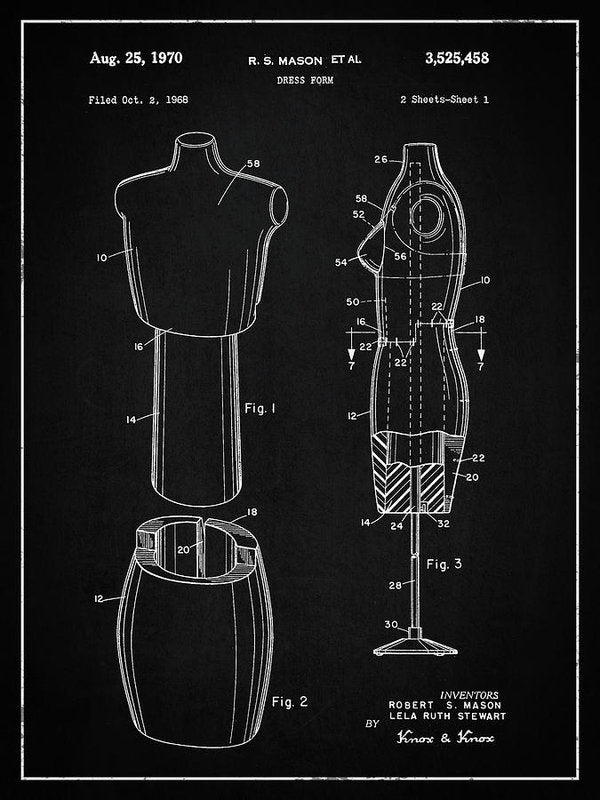 Vintage Dress Form Patent, 1970 - Art Print from Wallasso - The Wall Art Superstore