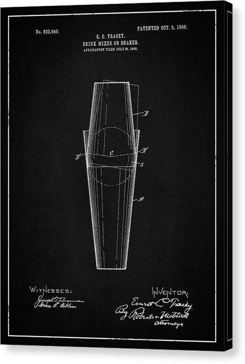 Vintage Drink Mixer Or Shaker Patent, 1906 - Canvas Print from Wallasso - The Wall Art Superstore
