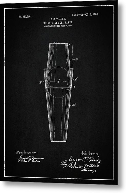 Vintage Drink Mixer Or Shaker Patent, 1906 - Metal Print from Wallasso - The Wall Art Superstore