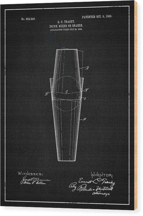 Vintage Drink Mixer Or Shaker Patent, 1906 - Wood Print from Wallasso - The Wall Art Superstore
