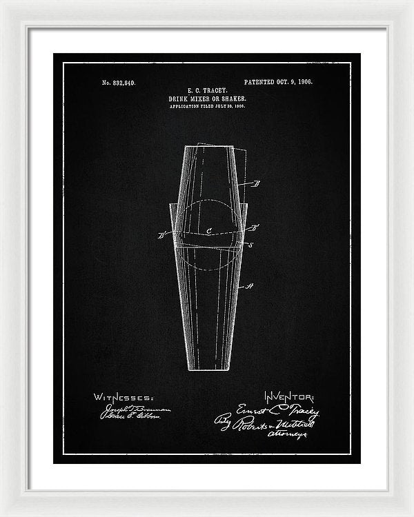 Vintage Drink Mixer Or Shaker Patent, 1906 - Framed Print from Wallasso - The Wall Art Superstore