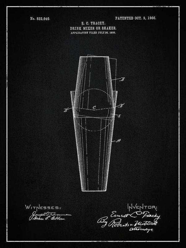 Vintage Drink Mixer Or Shaker Patent, 1906 - Art Print from Wallasso - The Wall Art Superstore