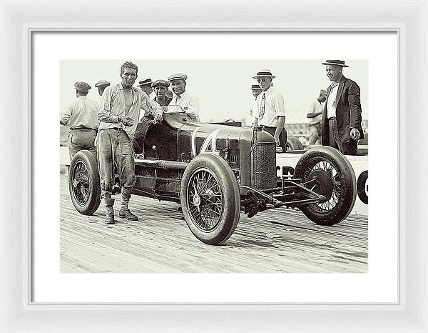 Vintage Driver and Race Car At Laurel Speedway - Framed Print from Wallasso - The Wall Art Superstore