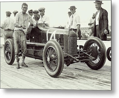 Vintage Driver and Race Car At Laurel Speedway - Metal Print from Wallasso - The Wall Art Superstore