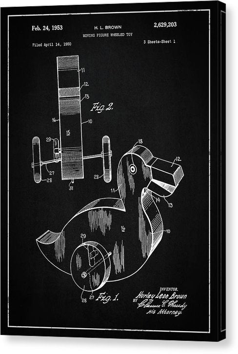 Vintage Duck Toy Patent, 1950 - Canvas Print from Wallasso - The Wall Art Superstore