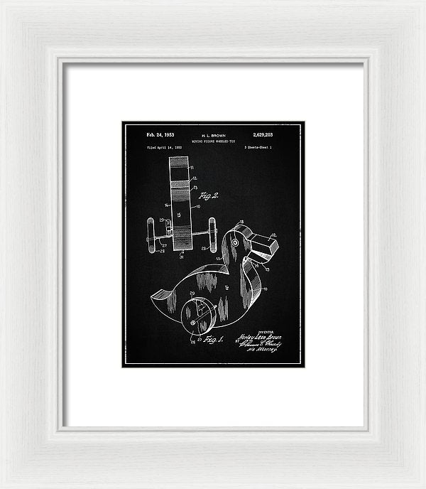 Vintage Duck Toy Patent, 1950 - Framed Print from Wallasso - The Wall Art Superstore
