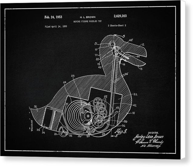 Vintage Duck Toy Patent, 1953 - Canvas Print from Wallasso - The Wall Art Superstore