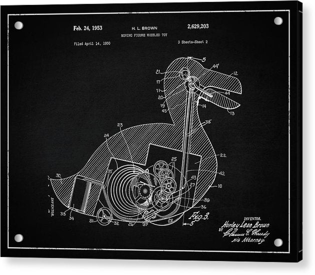 Vintage Duck Toy Patent, 1953 - Acrylic Print from Wallasso - The Wall Art Superstore