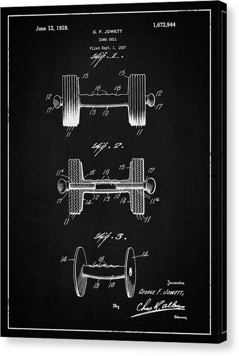Vintage Dumbbell Patent, 1927 - Canvas Print from Wallasso - The Wall Art Superstore