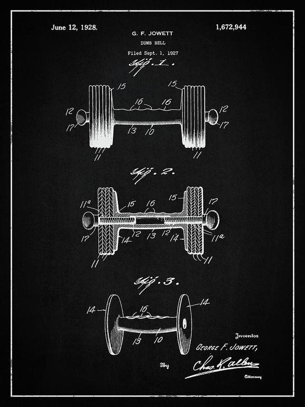 Vintage Dumbbell Patent, 1927 - Art Print from Wallasso - The Wall Art Superstore