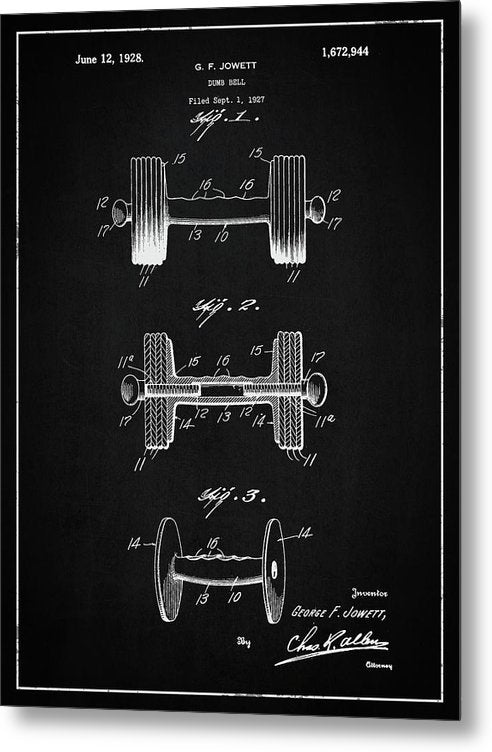 Vintage Dumbbell Patent, 1927 - Metal Print from Wallasso - The Wall Art Superstore