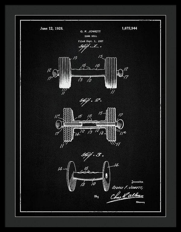 Vintage Dumbbell Patent, 1927 - Framed Print from Wallasso - The Wall Art Superstore