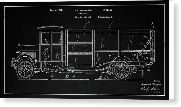 Vintage Dump Truck Patent Detail, 1934 - Canvas Print from Wallasso - The Wall Art Superstore