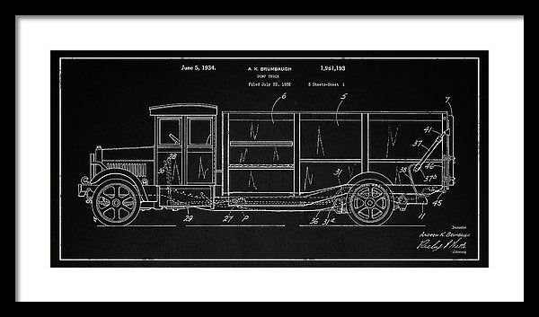 Vintage Dump Truck Patent Detail, 1934 - Framed Print from Wallasso - The Wall Art Superstore