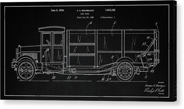Vintage Dump Truck Patent Detail, 1934 - Acrylic Print from Wallasso - The Wall Art Superstore