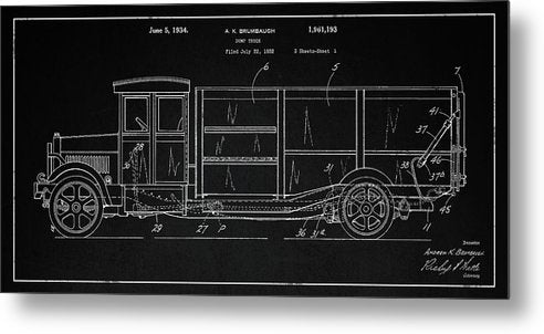 Vintage Dump Truck Patent Detail, 1934 - Metal Print from Wallasso - The Wall Art Superstore