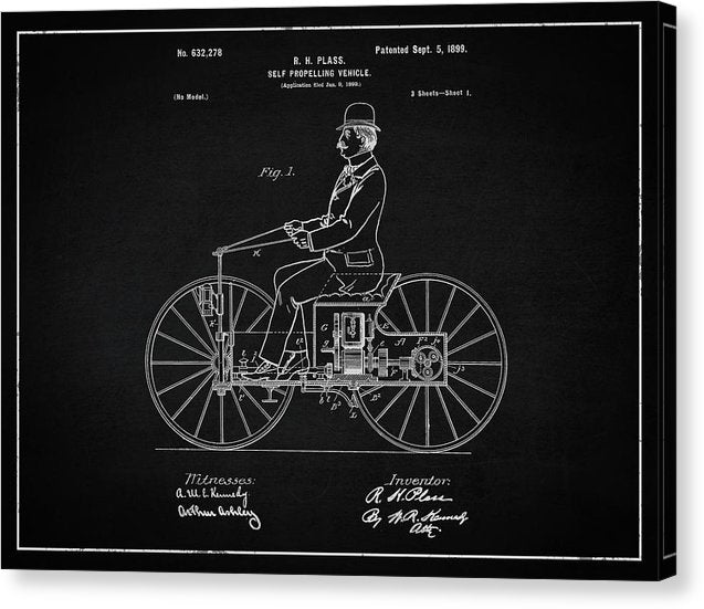 Vintage Early Motorcycle Patent, 1899 - Canvas Print from Wallasso - The Wall Art Superstore