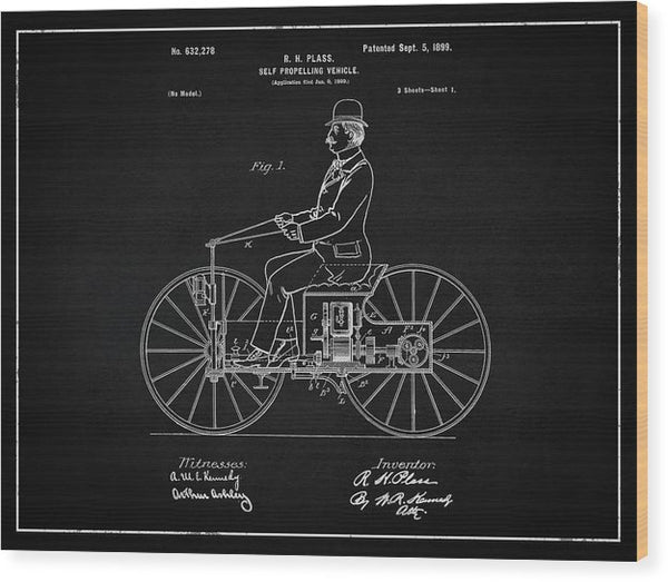 Vintage Early Motorcycle Patent, 1899 - Wood Print from Wallasso - The Wall Art Superstore