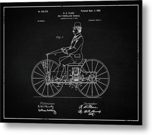Vintage Early Motorcycle Patent, 1899 - Metal Print from Wallasso - The Wall Art Superstore
