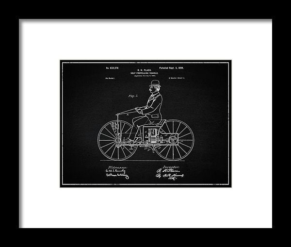 Vintage Early Motorcycle Patent, 1899 - Framed Print from Wallasso - The Wall Art Superstore