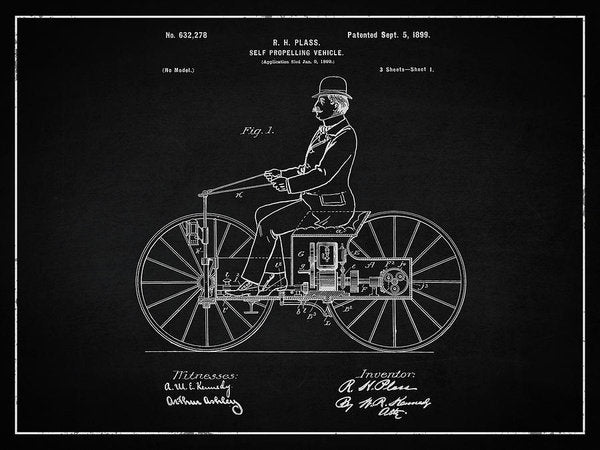 Vintage Early Motorcycle Patent, 1899 - Art Print from Wallasso - The Wall Art Superstore