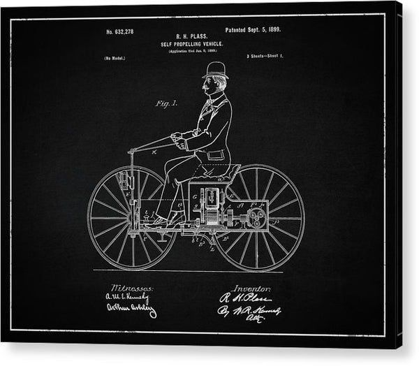 Vintage Early Motorcycle Patent, 1899 - Acrylic Print from Wallasso - The Wall Art Superstore