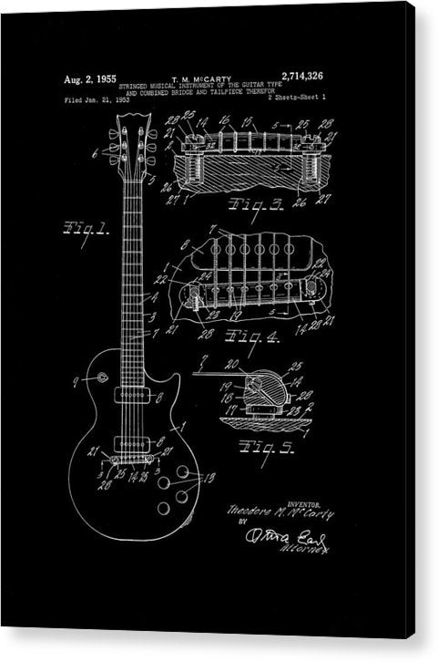 Vintage Electric Guitar Patent, 1955 - Acrylic Print from Wallasso - The Wall Art Superstore