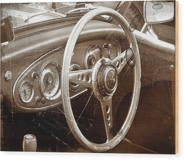 Vintage European Car Steering Wheel - Wood Print from Wallasso - The Wall Art Superstore
