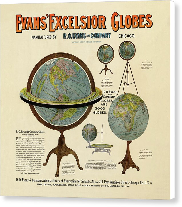 Vintage Evans Excelsior Globes Advertisement - Canvas Print from Wallasso - The Wall Art Superstore