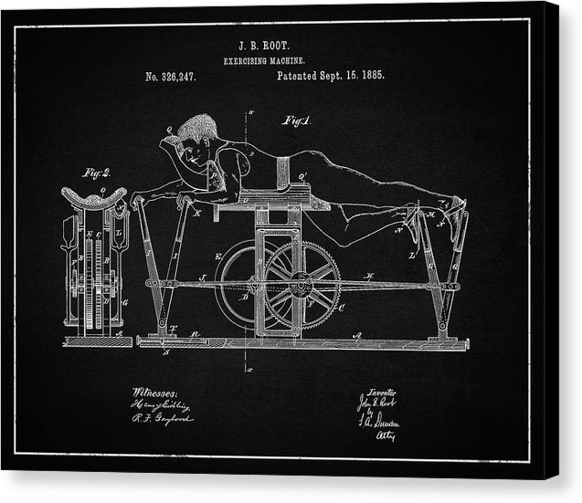 Vintage Exercise Machine Patent, 1885 - Canvas Print from Wallasso - The Wall Art Superstore