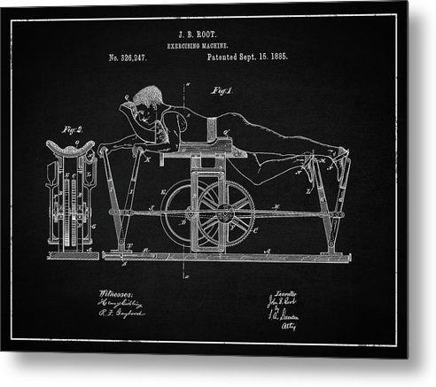 Vintage Exercise Machine Patent, 1885 - Metal Print from Wallasso - The Wall Art Superstore