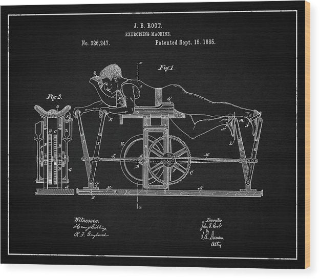 Vintage Exercise Machine Patent, 1885 - Wood Print from Wallasso - The Wall Art Superstore