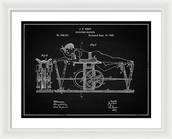 Vintage Exercise Machine Patent, 1885 - Framed Print from Wallasso - The Wall Art Superstore