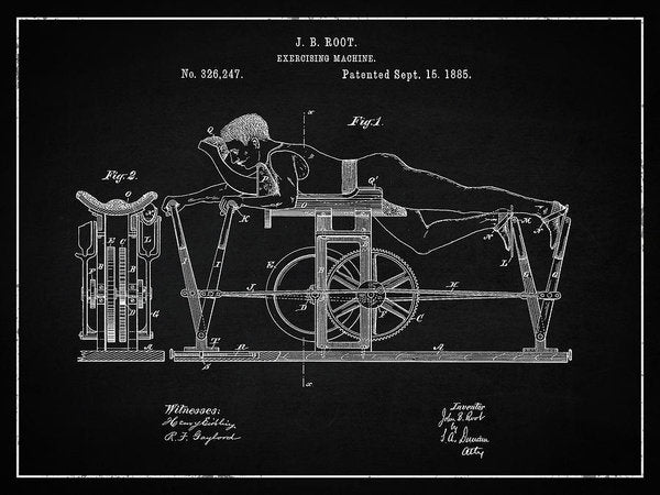 Vintage Exercise Machine Patent, 1885 - Art Print from Wallasso - The Wall Art Superstore