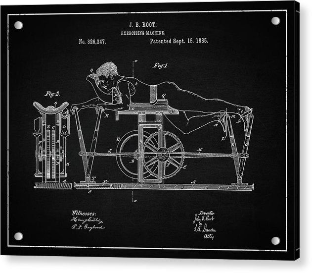 Vintage Exercise Machine Patent, 1885 - Acrylic Print from Wallasso - The Wall Art Superstore