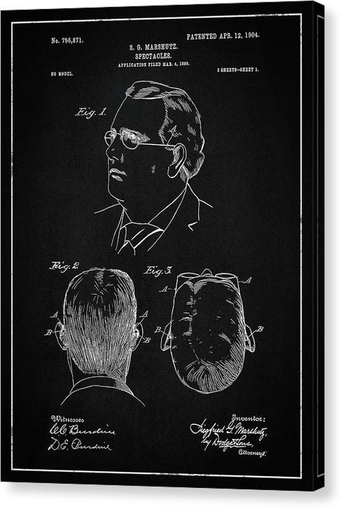 Vintage Eyeglass Spectacles Patent, 1904 - Canvas Print from Wallasso - The Wall Art Superstore