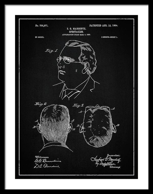 Vintage Eyeglass Spectacles Patent, 1904 - Framed Print from Wallasso - The Wall Art Superstore